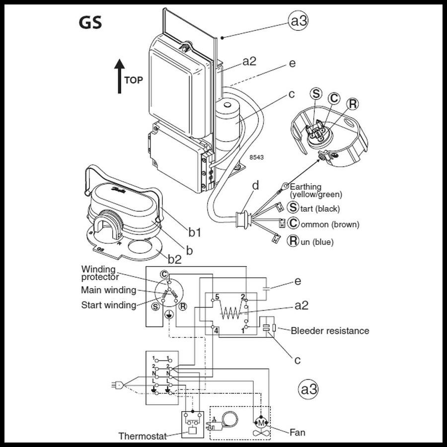 Sch mas de branchement du compresseur danfoss secop s rie gs - Schema electrique chambre froide ...