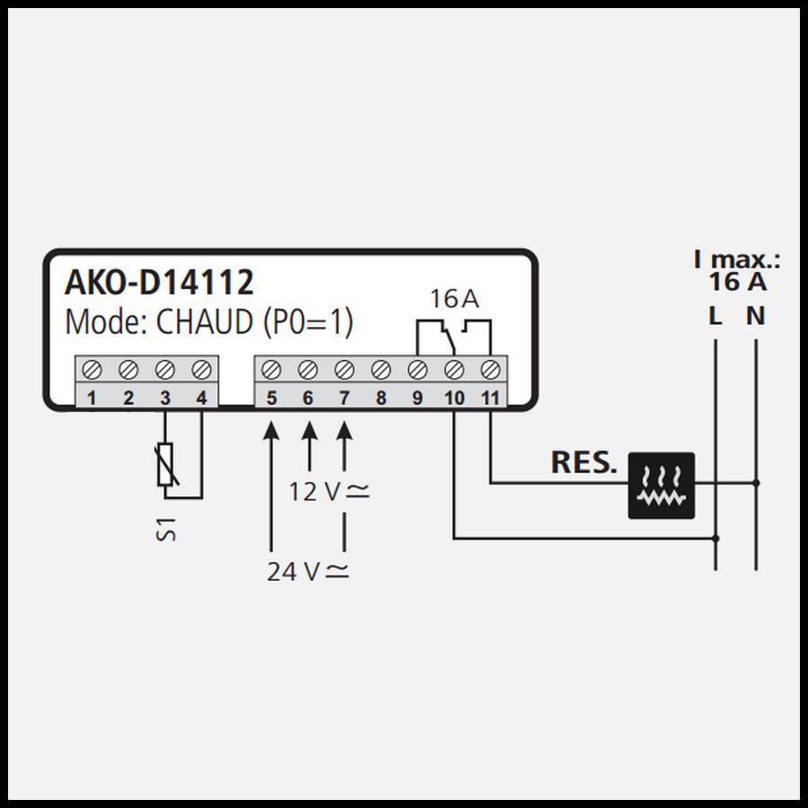 thermostat  u00e9lectronique 1 relais ako 24 volts